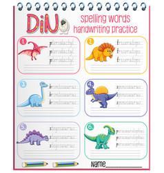 set spelling words dinosaur handwriting vector image