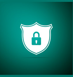 shield security with lock icon on green background vector image
