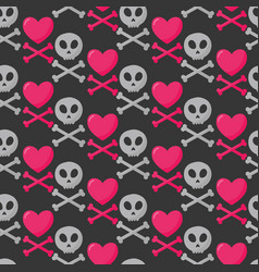 skull heart and crossbones seamless pattern vector image