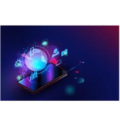 Smartphone futuristic smart home technology vector