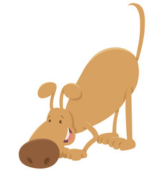 sniffing dog cartoon character vector image
