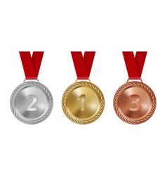 sport medals set bronze golden silver awards vector image