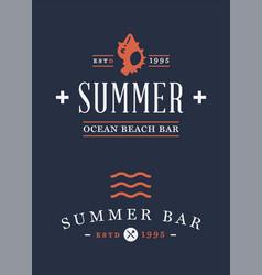 Summer time beach logo set vector