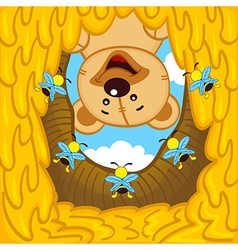 Teddy bear looks into hive with bees vector