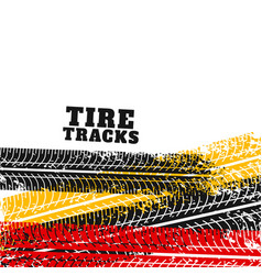 Tire track marks backgorund in different colors vector