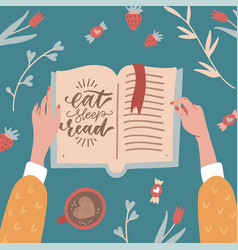 top view female hands holding an open book table vector image