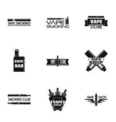 vape smoking logo set simple style vector image