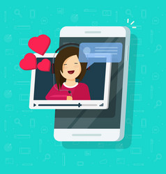 Video call with girlfriend on mobile phone vector