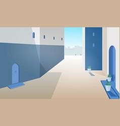 view morocco street with building walls doors vector image