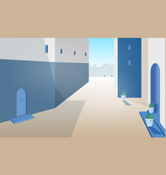View of morocco street with building walls doors vector