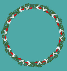 Vintage round frame with rowanberry and dove vector