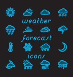Weather Forecast Fat Line Icons vector