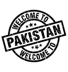 welcome to pakistan black stamp vector image
