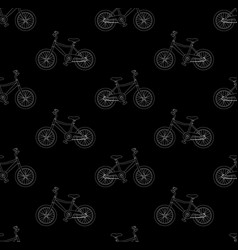 white bicycle seamless on black background vector image