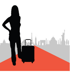 Woman with travel bag and famous buildings in back vector