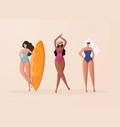 women in bikini on a beach funny cartoon vector image