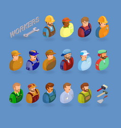 workers and tools symbols isolated on blue vector image