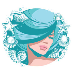 young beautiful girl with vector image