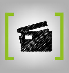 credit card sign black scribble icon in vector image