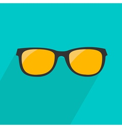 Glasses with yellow lens Long shadow flat design vector image