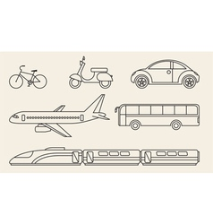 Line graphics set of different personal and public vector image vector image