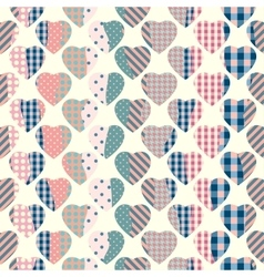 Patchwork hearts background vector image