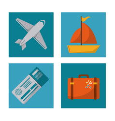 set travel plane ticket suitcase ship design vector image vector image