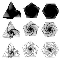 Triangle pentagon hexagon swirls vector image