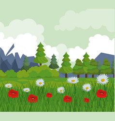 colorful background with landscape of trees and vector image