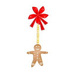 Gingerbread Man Cookie Hanging on A Red Bow vector image