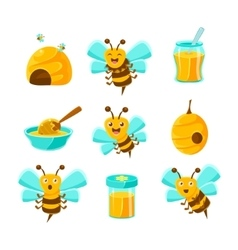 Honey Bees Beehives And Jars With Yellow Natural vector image