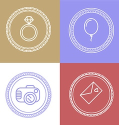 Linear wedding logos and icons Outline design for vector image vector image
