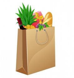 shopping bag with foods vector image vector image