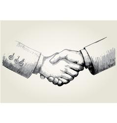 Sketch of shaking hands vector