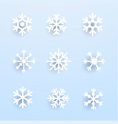 snowflake winter set of white isolated on blue vector image