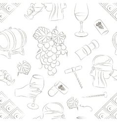 Tasting wine icons pattern vector image