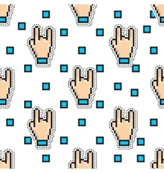 Thumbs Hand Rock seamless pattern gestures vector image