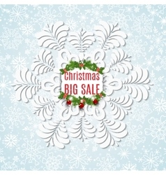 Winter sale background with snowflake christmas vector