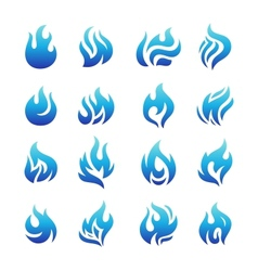 Collection of blue fire icons vector image