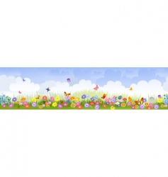 herbaceous border panorama vector image vector image