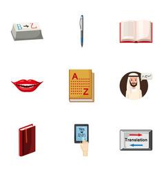 Language learning icons set cartoon style vector
