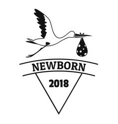 newborn stork logo simple black style vector image vector image