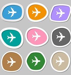 Plane icon symbols multicolored paper stickers vector