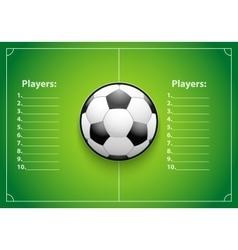 Poster Template of Football Field and Ball vector image