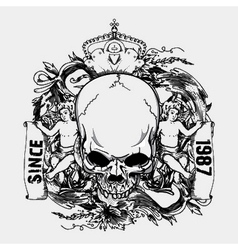 skull with floral and angels vintage t-shirt vector image