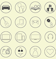 0208 Entertainment icons set vector image