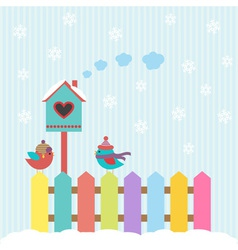 Background with birds and birdhouse winter vector image vector image