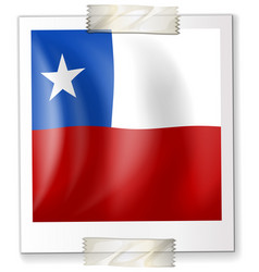 badge design for chile flag in square shape vector image vector image