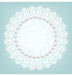 fabric doily and pearls vector image