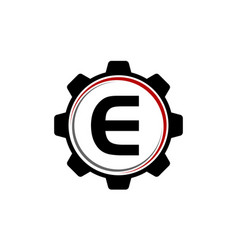 gear solution logo letter e vector image vector image